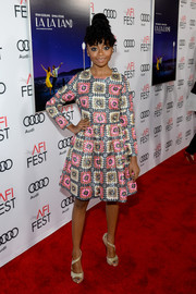 Skai Jackson kept it sophisticated all the way down to her gold Jimmy Choo glitter sandals.