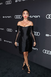 Sarah Hyland looked sultry in a fitted black off-the-shoulder dress by August Getty Atelier at the Audi pre-Emmy celebration.