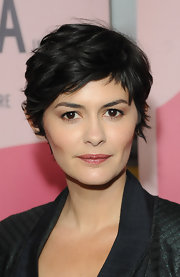 Audrey Tautou chose a pink lip with a slight shimmer to bring out the rosy color in her cheeks.