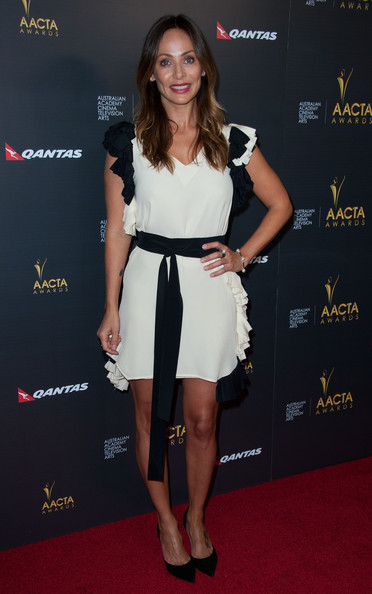 Natalie Imbruglia oozed girly charm in a black-and-white ruffle dress at the AACTA International Awards.