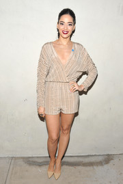 Edy Ganem looked cute in a beaded nude Kayat romper at the Autism Speaks' Blue Jean Ball.