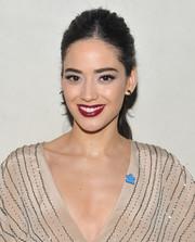 Edy Ganem chose a deep-red lip color for a dramatic beauty look during the Autism Speaks' Blue Jean Ball.