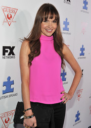 Valerie Azlynn oozed a youthful vibe in her neon-pink turtleneck at the Autism Speaks' Blue Jean Ball.