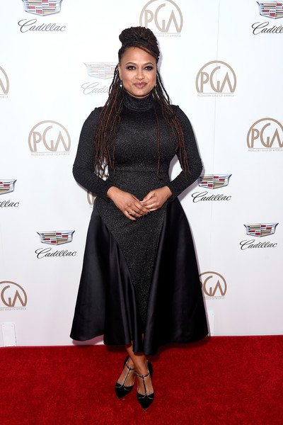 Ava DuVernay Little Black Dress [red carpet,carpet,clothing,dress,flooring,hairstyle,fashion,a-line,formal wear,event,arrivals,ava duvernay,the beverly hilton hotel,beverly hills,california,annual producers guild awards]