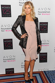 Fergie wore a nude strapless dress with a lovely ruffle for Avon's Global Voices for Change Awards.