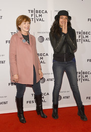 Rosario Dawson was casual on the red carpet in skinny jeans and a biker jacket at the Tribeca Film Fest premiere of 'Awake, A Dream From Standing Rock.'
