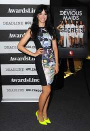 Edy Ganem cut a curvy figure in a body-con print dress during the 'Devious Maids' screening.