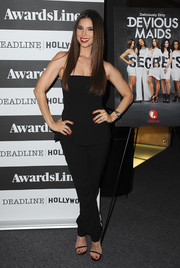 Roselyn Sanchez looked cool and chic in a strapless black jumpsuit during the 'Devious Maids' screening.