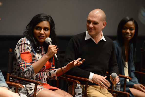 More Pics of Mindy Kaling Print Dress (3 of 43) - Mindy Kaling Lookbook - StyleBistro [the mindy project,youth,event,human,performance,news conference,adaptation,music,conversation,mindy kaling,dominic patten,awardsline,california,los angeles,landmark theatre,screening]