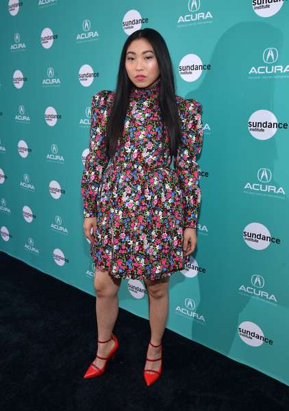 Awkwafina Print Dress [the farewell,sundance institute presents ``the farewell la premiere,acura honoring lulu wang with the 2019 vanguard award,clothing,footwear,fashion,long hair,pattern,shoe,premiere,dress,carpet,flooring,awkwafina,la,ace hotel,california,the theatre,sundance institute,acura]