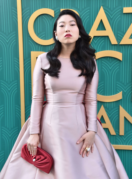 Awkwafina Gemstone Ring [crazy rich asians,crazy rich asiaans,clothing,dress,shoulder,fashion model,lady,beauty,pink,fashion,waist,neck,premiere - arrivals,awkwafina,california,hollywood,warner bros. pictures,tcl chinese theatre imax,premiere]