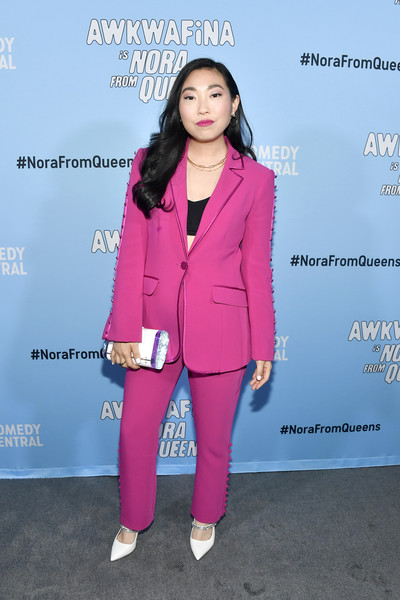 Awkwafina Evening Pumps [clothing,pantsuit,suit,pink,fashion,outerwear,magenta,blazer,fashion design,electric blue,awkwafina,awkwafina is nora from queens,california,los angeles,valentine dtlaon,comedy central,nora from queens premiere party,premiere party,awkwafina,awkwafina is nora from queens,los angeles,new york,comedy central,premiere,getty images,celebrity]