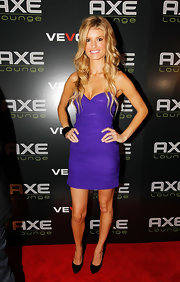 Marisa's ruched strapless dress goes from boring to beautiful in a vibrant shade of pretty purple.