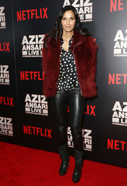 Padma Lakshmi finished off her casual-glam ensemble with a pair of slouchy black boots.