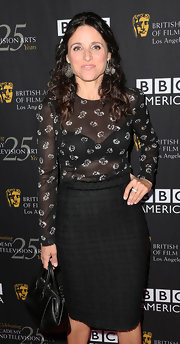 Julia Louis-Dreyfus capped off her classy ensemble with a vintage-looking black leather tote when she attended the BAFTA LA TV Tea.