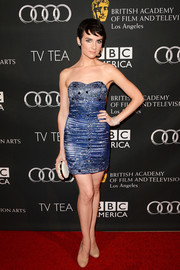 Victoria Summer showed plenty of skin at the BAFTA LA TV Tea in a super-short blue strapless dress.