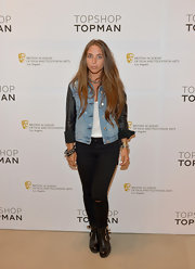 Chloe Green chose this denim jacket with cool leather sleeves to give her a tough edgy vibe.