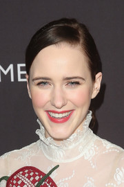 Rachel Brosnahan sported a neat side-parted ponytail at the BAFTA Los Angeles Tea Party.