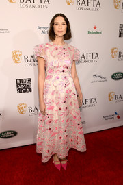 Caitriona Balfe was sweet and elegant in an embroidered pink dress by Delpozo at the BAFTA Los Angeles Tea Party.