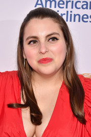 Beanie Feldstein's lipstick was a perfect match to her dress.