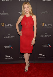 Jacqueline Murphy looked svelte in a sexy red halter dress during the BAFTA Los Angeles tea party.