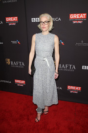 Gillian Anderson chose a gray tweed maxi dress by Victoria Beckham for the BAFTA Los Angeles Tea Party.