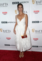 Angela Sarafyan looked downright darling in this white fit-and-flare frock by Paule Ka at the BAFTA Los Angeles TV tea party.