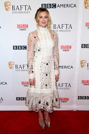 Laura Carmichael amped up the frill factor with this floral-embroidered white dress by Orla Kiely at the BAFTA Los Angeles TV Tea Party.