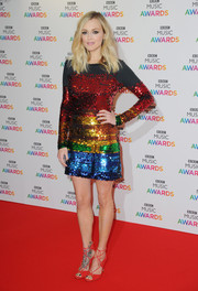 Fearne Cotton looked totally disco-ready in a rainbow-hued sequin dress by Preen at the BBC Music Awards.