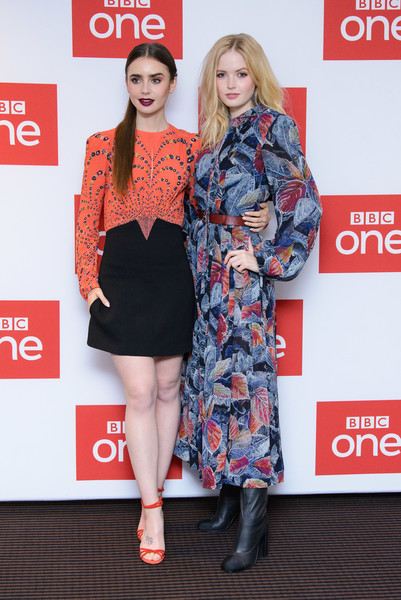 More Pics of Lily Collins Print Dress (3 of 18) - Dresses & Skirts Lookbook - StyleBistro [les miserables,clothing,red,carpet,fashion,red carpet,outerwear,premiere,dress,footwear,fashion design,lily collins,ellie bamber,photocall,photocall,england,london,bbc one,bafta]