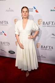 Amy Adams donned a white button-front maxi dress by Emilia Wickstead for the BBCA BAFTA Tea Party.