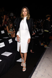 Louise Roe sported a white-on-white pencil skirt and button-down combo at the BCBG Max Azria fashion show.