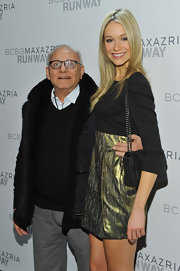 Katrina Bowden carried a ladylike black quilted shoulder bag to the BCBGMAXAZRIA show.