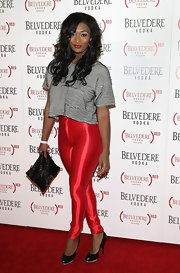 Toccara Jones rocked a disco-inspired outfit featuring metallic red skinny pants at the Belvedere (RED) event.