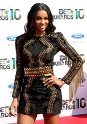 Ciara looked fierce in a brocade, fringe-detailed Fall 2010 mini dress with metallic lace-up detailing and a bold belt.