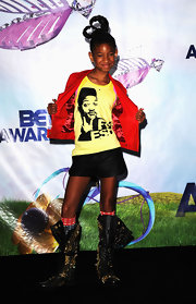 Willow Smith opted for typically funky flair at the BET Awards in a pair of black leather lace-up boots covered in gold studs.