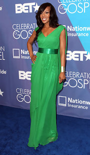 Wendy Raquel Robinson looked downright divine in a billowy green evening dress.