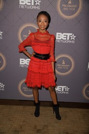 Skai Jackson was a cutie in a red Alexander McQueen cocktail dress during BET's pre-Grammy brunch.