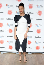 Thandie Newton looked simply sophisticated in a black-and-white midi dress by Naeem Khan on day 2 of the BFI and Radio Times TV Festival.