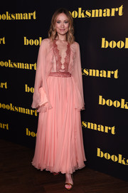 Olivia Wilde was sweet and chic in a lace-accented pink chiffon gown by Giambattista Valli at the 'Booksmart' gala screening.