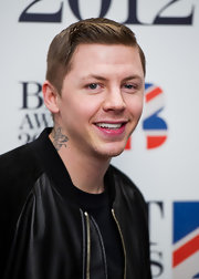 Professor Green looked zany at the 2012 Brit Awards with this sculpted side-parted 'do.