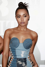 Leigh-Anne Pinnock slicked her hair back into a top knot for the Brit Awards.