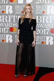 Fearne Cotton was a boho beauty at the Brit Awards in a black off-the-shoulder gown with a tiered lace skirt.