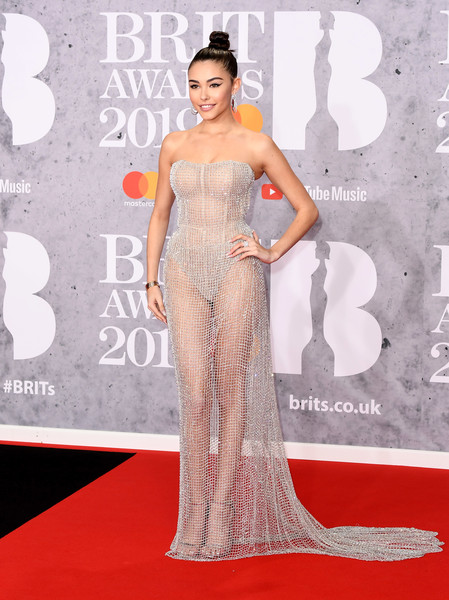 Madison Beer grabbed stares in a sheer silver corset gown by Ralph & Russo Couture at the 2019 Brit Awards.
