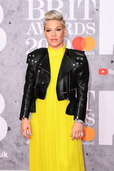 More Pics of Pink Fauxhawk (1 of 10) - Pink Lookbook - StyleBistro [clothing,leather,yellow,jacket,leather jacket,hairstyle,outerwear,fashion,latex clothing,blond,red carpet arrivals,pink,brit awards,the o2 arena,london,england]