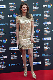 Annabel Croft sparkled on the red carpet of the BT Sports Industry Awards, where she wore this golden sparkly dress.