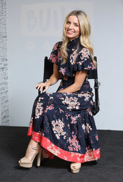 Annabelle Wallis oozed feminine appeal wearing this Rebecca Taylor floral frock with a ruffle neckline and sleeves at the Build LDN event.