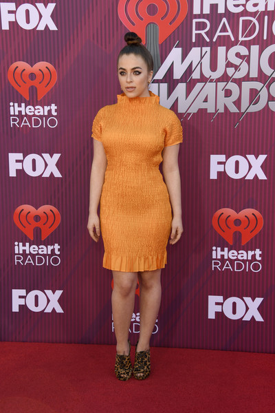 Baby Ariel Lace Up Boots [red carpet,dress,clothing,carpet,cocktail dress,footwear,premiere,fashion,shoulder,flooring,arrivals,ariel,iheartradio music awards,california,los angeles,microsoft theater,fox]