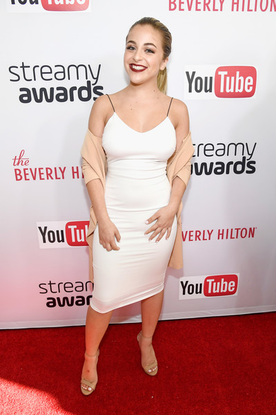 Baby Ariel Strappy Sandals [dress,clothing,cocktail dress,shoulder,carpet,red carpet,joint,premiere,leg,flooring,red carpet,ariel,king bach,6th annual streamy awards,youtube,internet personality,the beverly hilton hotel,beverly hills,california,live]