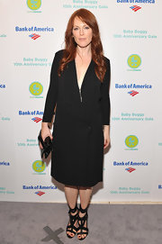 Julianne Moore donned a black coat dress for the Baby Buggy 10th Anniversary Gala.